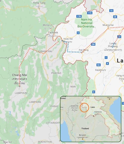Tailandia e Laos em BTT (mapa)